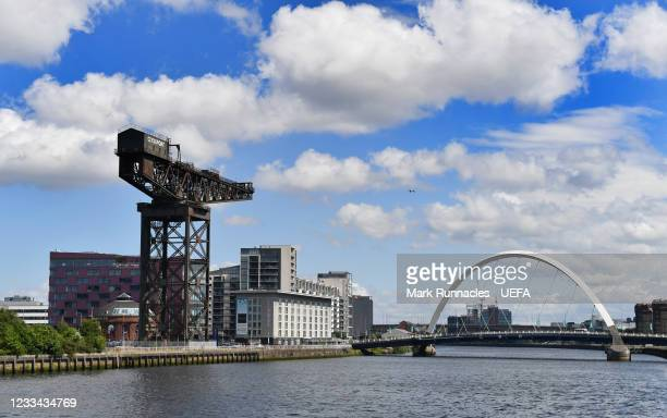 The Finnieston Crain and The Clyde Arc, , on banks of the River Clyde during the UEFA Euro 2020 Championship on June 13, 2021 in Glasgow, United...