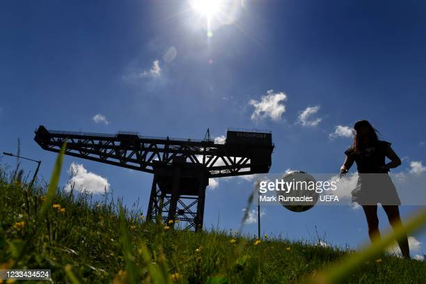 The Finnieston Crain on the banks of the River Clyde during the UEFA Euro 2020 Championship on June 13, 2021 in Glasgow, United Kingdom.