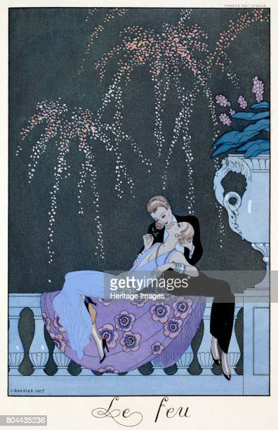 The Fire' 1925 Pochoir print illustration for Fetes Galantes by Paul Verlaine