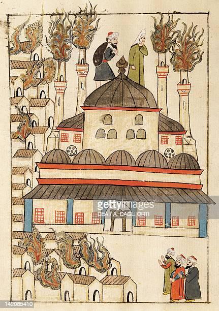 The fire at Hagia Sophia miniature from Turkish Memories Arabic manuscript Cicogna Codex Turkey 17th Century
