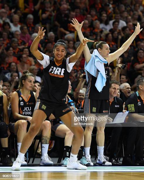 The Fire bench celebrate after a basket during game three of the WNBL Grand Final series between the Townsville Fire and Melbourne Boomers at the...