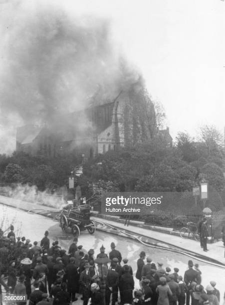 The fire brigade attend a blaze at St Catherines Church Hatcham which has been set light to by Suffragettes