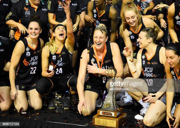 The Fire celebrate after winning game three of the WNBL Grand Final series between the Townsville Fire and Melbourne Boomers at the Townsville...