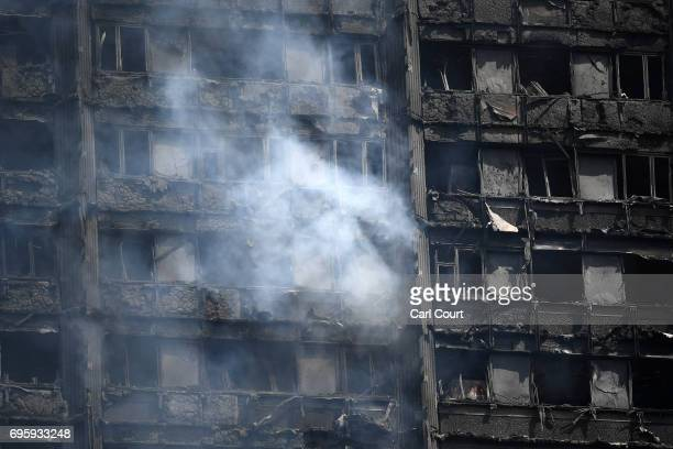 The fire damaged floors of the 24 storey residential Grenfell Tower block in Latimer Road West London on June 14 2017 in London England The Mayor of...
