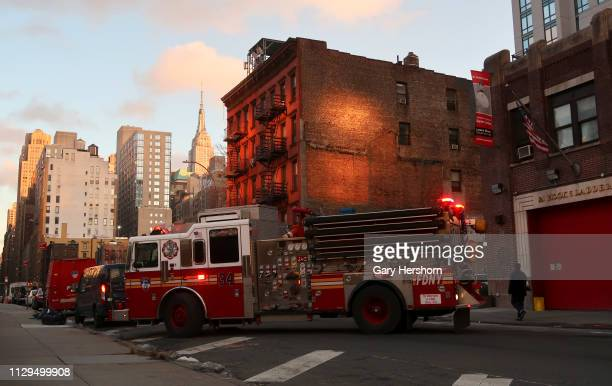 The Fire Department of the City of New York Engine 34 arrives back at its fire station on 38th Street in Hell's Kitchen on February 13 2019 in New...