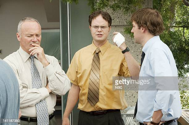 THE OFFICE The Fire Episode 4 Aired Pictured Creed Bratton as Creed Bratton Rainn Wilson as Dwight Schrute and John Krasinski as Jim Halpert Photo by...