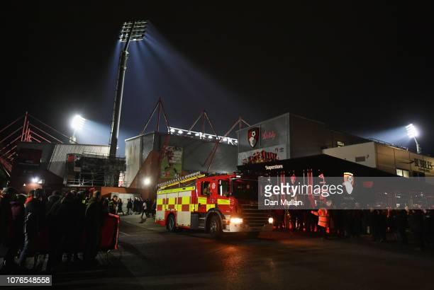 The fire service leave the stadium after an inspection prior to the Premier League match between AFC Bournemouth and Watford FC at Vitality Stadium...