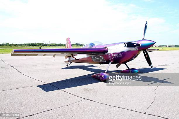The Firebirds Delta Team airplane is on display during media day for the 53rd Annual Chicago Air Water Show at the Gary Jet Center in Gary Indiana on...
