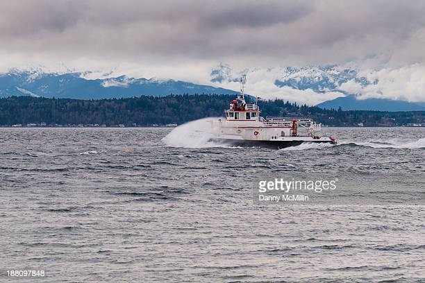 CONTENT] The fireboat Leschi heads south off of Alki Point in Puget Sound on January 14 2011 at 1600 hours PST The Olympic Mountains and the south...