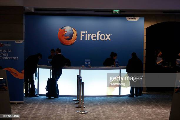 The Firefox logo is seen at the reception desk outside a Mozilla Corp news conference prior to the opening of the Mobile World Congress in Barcelona...