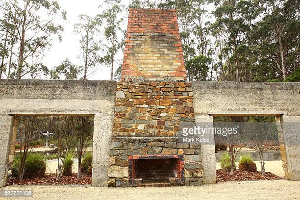 The fireplace inside the shell of the Broad Arrow Cafe is seen at the Memorial Garden of the Port Arthur Historical Site on April 18 2016 in Port...