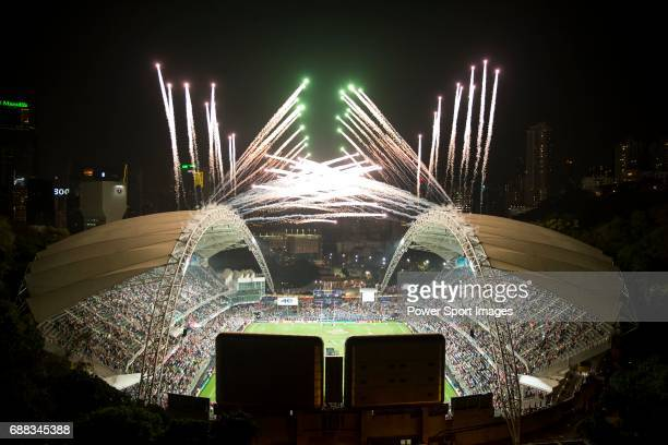 The firework displays at the Closing Ceremony of the Cathay Pacific / HSBC Hong Kong Sevens 2015 at the Hong Kong Stadium on 29 March 2015 in Hong...