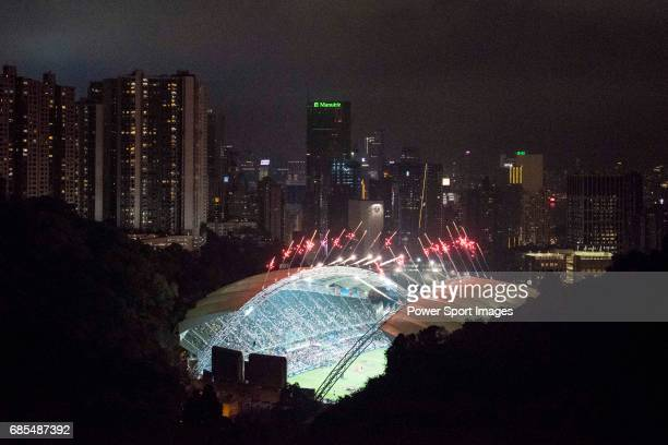 The firework displays at the Closing Ceremony of the HSBC Hong Kong Rugby Sevens 2017 at the Hong Kong Stadium on 09 April 2017 in Hong Kong Hong Kong