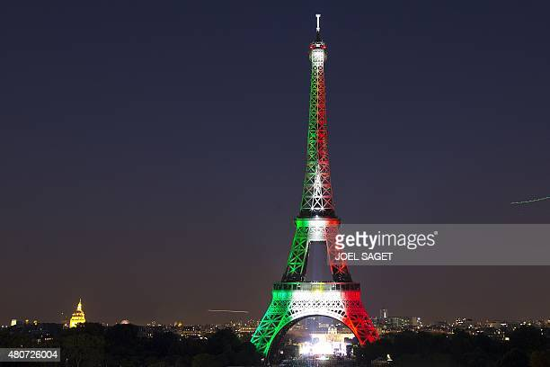 The firework spectacle begins at Eiffel Tower in the French capital Paris on July 14 2015 as part of France's annual Bastille Day celebrations AFP...