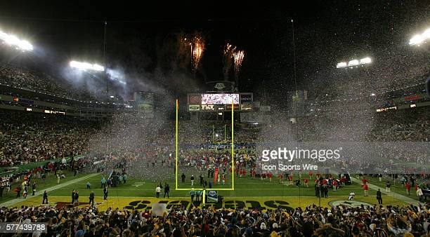 The fireworks are fired and confetti launched as the game ends with the Steelers winning their record sixth Super Bowl, Super Bowl XLIII with the...