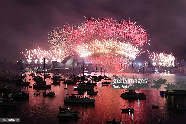 The fireworks at Mrs Macquaries chair on New Year's Eve on January 1 2016 in Sydney Australia