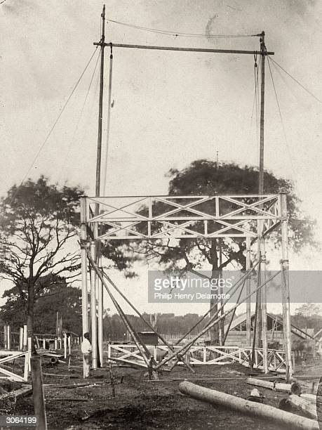 The first 24-foot compartment of the original Crystal Palace is erected in Sydenham, south London, after it was moved from its original site in Hyde...