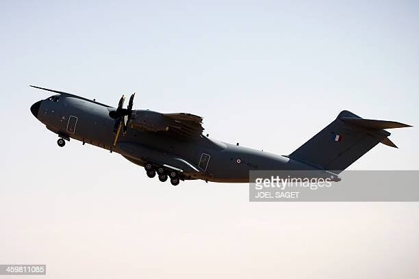 The first A 400M Atlas French military transport aircraft takes off from the French military airbase in Gao, northern Mali, on December 31 during its...