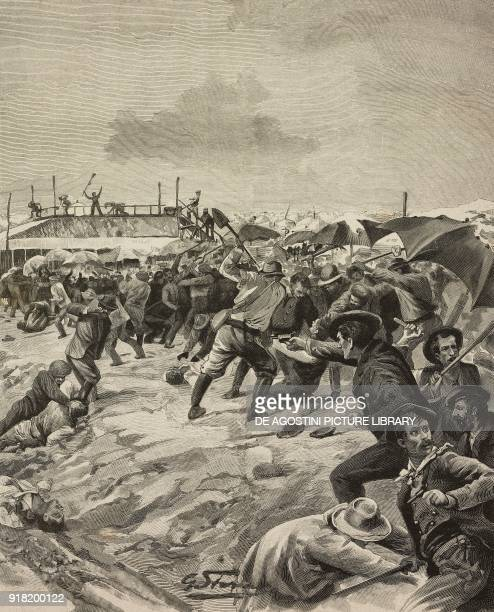 The first aggression against Italian workers in the AiguesMortes salines on August 16 France drawing by Gino Starace from a sketch by Eduardo Ximenes...