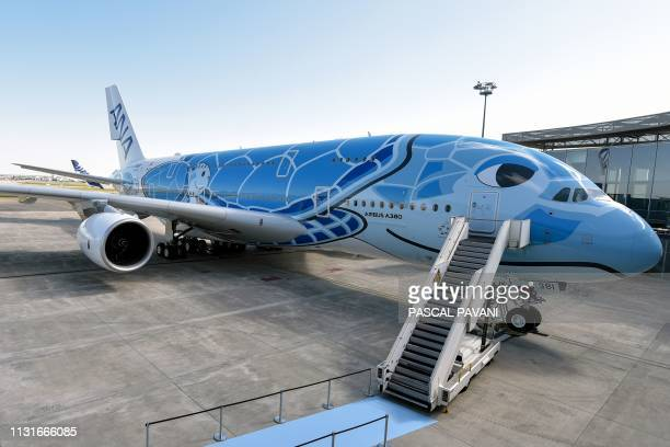 The first Airbus A380 to be delivered to All Nippon Airways is pictured on the tarmac of the Airbus delivery centre in Colomiers southwestern France...