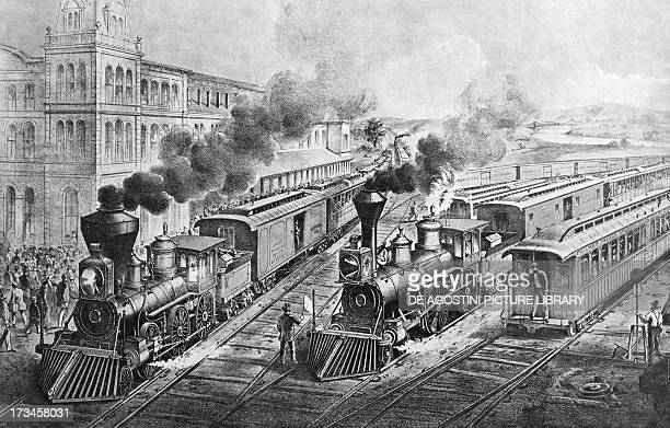 The first American Railroads express train engraving United States 19th century