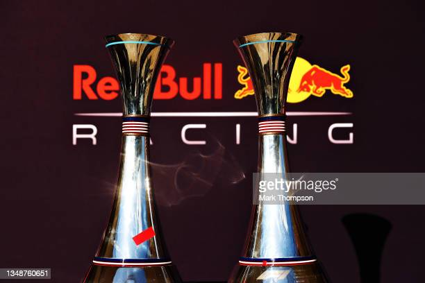 The first and third place trophies of Max Verstappen of Netherlands and Red Bull Racing and Sergio Perez of Mexico and Red Bull Racing are pictured...