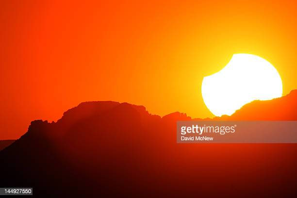 The first annular eclipse seen in the US since 1994 wanes to a partial eclipse as the sun sets on May 20 2012 in Grand Canyon National Park Arizona...