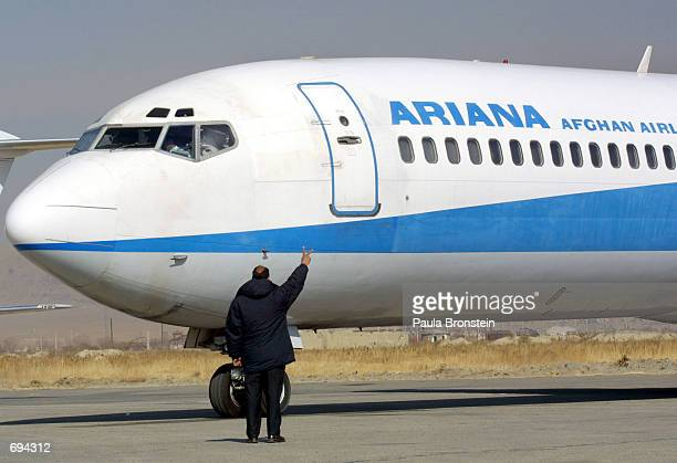 The first Ariana Afghan Airlines international flight in 5 years receives approval for takeoff January 24 2002 at the Kabul Airport in Kabul...