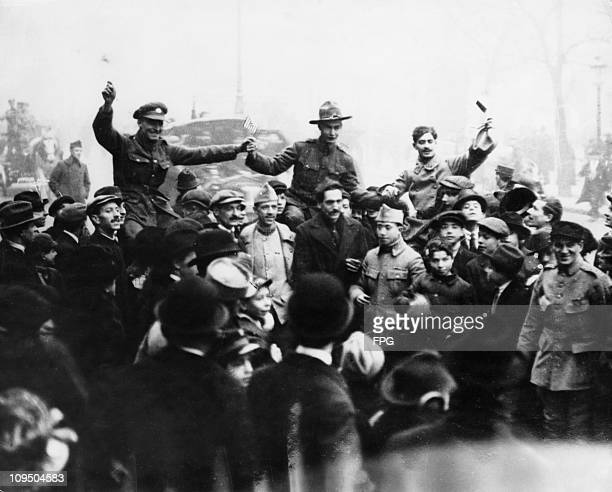 The first Armistice Day in Paris, at the end of World War I, 11th November 1918.