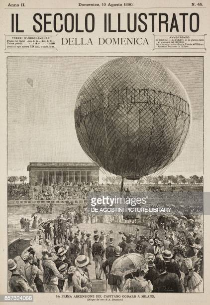 The first ascent of Louis Godard's first hot air balloon in Milan drawing by A Bonamore illustration from Il Secolo Illustrato della Domenica Year II...