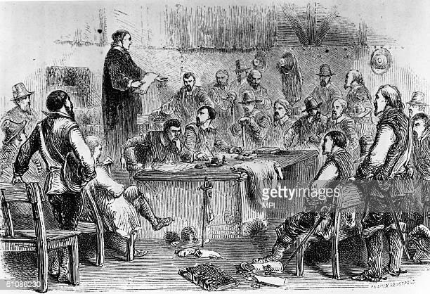 The first assembly of the House of Burgesses the first elected legislative assembly in America in Jamestown Virginia 1619