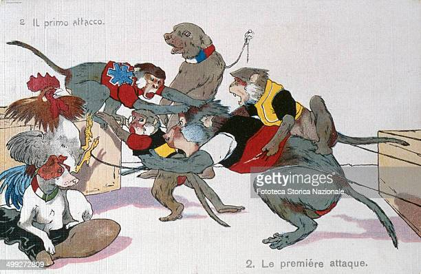 '2 The first attack' Satirical Allegory of alliances between nations during the First World War represented by animals in question The series is...