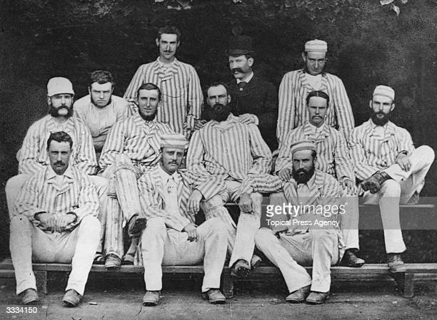 The first Australian test team which came to play cricket in England back row Frederick Spofforth Conway Allan 2nd row Bailey Horan Garrett Gregory A...