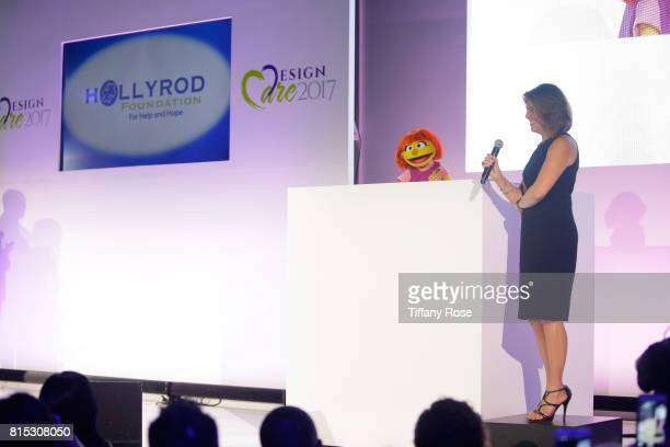 The first autistic Sesame Street muppet Julia accepts the HollyRod Corporate Compassion Award for Sesame Workshop at HollyRod Foundation's DesignCare...