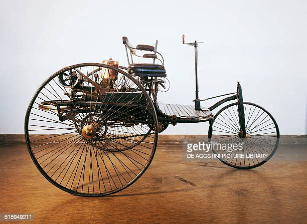 The first automobile powered by an internal combustion engine built by Karl Benz in Karlsruhe Germany 19th century Monaco Deutsches Museum