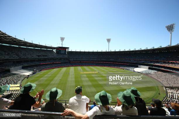 The first ball is bowled during day one of the Second Test match between Australia and India at Melbourne Cricket Ground on December 26, 2020 in...