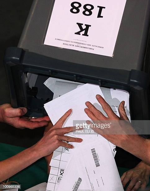 The first ballot box arrives for a constituency count in Kirkcaldy in Scotland on May 6 2010 Voters plunged Britain into limbo Friday as the...