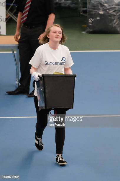 The first ballot box is run in so counting can begin at the Silksworth Community Pool Tennis and Wellness Centre as the general election count begins...