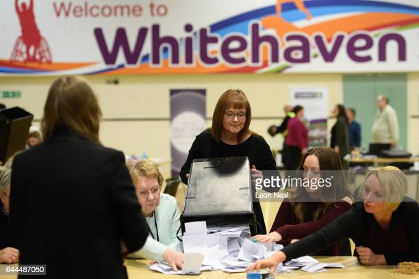 The first ballot boxes are opened at the Whitehaven sports centre as counting begins for the results of the Copeland by-election on February 23, 2017...