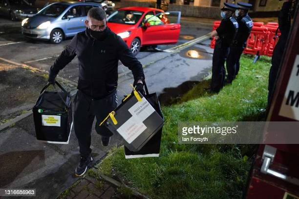 The first Ballot boxes arrive at the Mill House Leisure Centre in Hartlepool after polling stations close and the verification and count process...