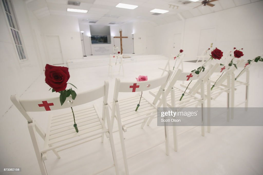 The First Baptist Church of Sutherland Springs is turned into a memorial to honor those who died on November 12, 2017 in Sutherland Springs, Texas. The inside of the church has been painted white with 26 white chairs placed around the room. On each chair is a single rose and the name of a shooting victim. The chairs are placed throughout the room at the location where the victim died. The memorial will be open to the public. Devin Patrick Kelley shot and killed the 26 people and wounded 20 others when he opened fire during Sunday service at the church on November 5th.