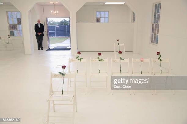 The First Baptist Church of Sutherland Springs is turned into a memorial to honor those who died on November 12 2017 in Sutherland Springs Texas The...