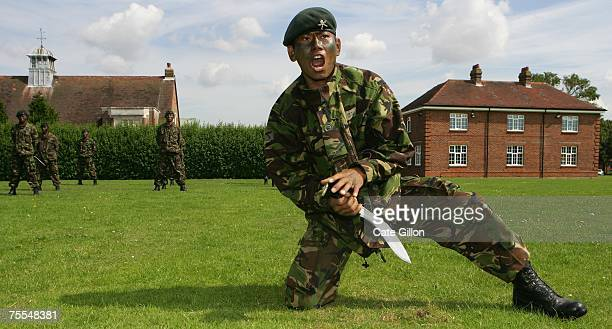 The First Battalion of the Royal Gurkha Rifles demonstrate Khukuri Fighting on July 19 2007 at the Sir John Moore barracks in Folkstone England The...