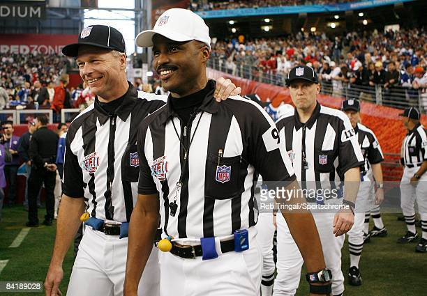 The first black referee to ref a Super Bowl Mike Carey before New York Giants and the New England Patriots during Super Bowl XLII on February 3, 2008...
