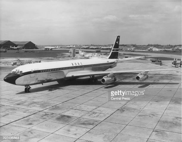 The first Boeing 707 longrange narrowbody four engined commercial jet airliner for the BOAC British Overseas Airways Corporation flown by Captain Tom...