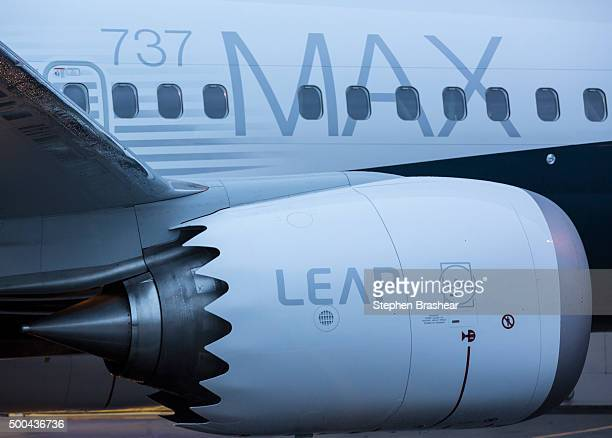 The first Boeing 737 MAX airliner including fuel efficient LEAP engines is pictured at the company's manufacturing plant on December 8 in Renton...
