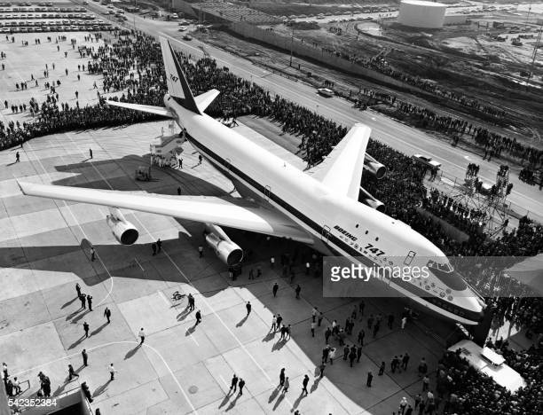 The first Boeing 747 is rolled out of the Boeing company's plant in the State of Washington in September 1968 On September 30 the first 747 was...