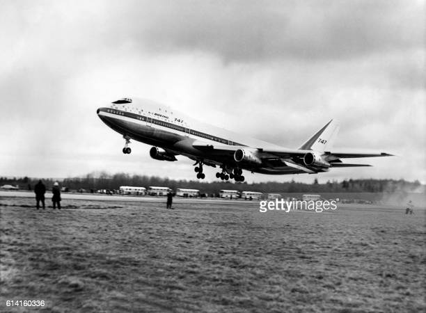 The first Boeing 747 jumbo jet christened the City of Everett and largest transport plane in the world departs on its first flight on February 09...