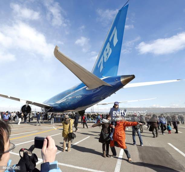 The first Boeing 787 Dreamliner ever made used as a flight test airplane is towed from a parking area in Chubu Central International Airport to a...
