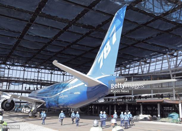 The first Boeing 787 Dreamliner ever made used as a flight test airplane is moved from a parking area in Chubu Central International Airport to a...